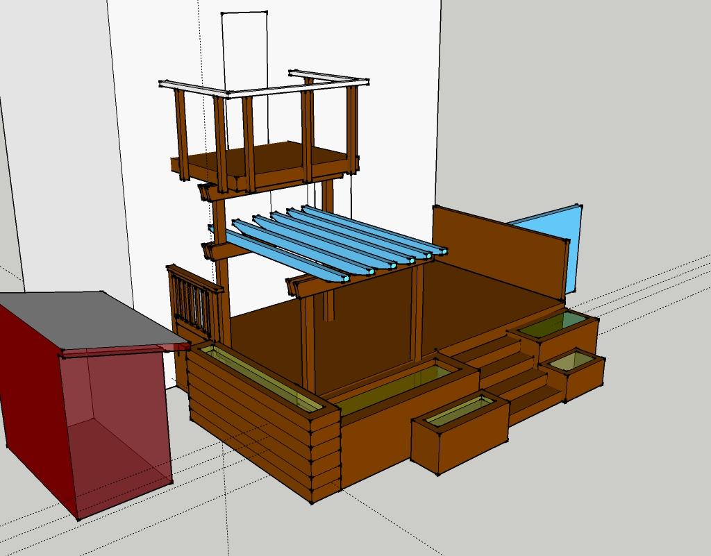 Sketchup model of the multi layered landscape design for Sketchup deck design