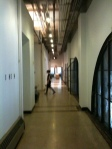 View down the long hallway to the studio
